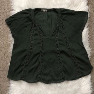 About A Girl Bohemian Green Flowy Top